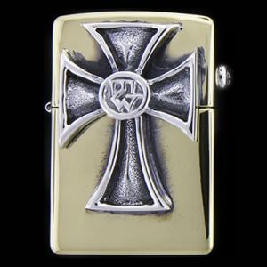 TRAVIS WALKER/DOUBLE CROSS(トラヴィスワーカー/ダブルクロス):Brass Zippo w/TW Crusader Cross(ブラスジッポw/TWクルセイダークロス)|chrono925