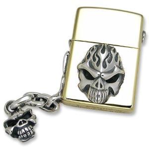 TRAVIS WALKER(トラヴィスワーカー/ダブルクロス):Brass Zippo w/Flame Skull&Speed Skull Handle(ブラスジッポw/フレイムスカル&スピー...