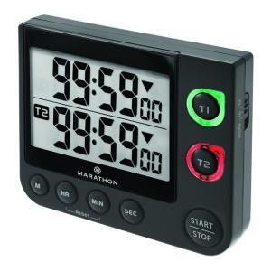 MARATHON デュアルタイマー 2連デジタルタイマー 音と光でお知らせ 消音可 電池付 TI030017 マラソン|chronoworldjapan