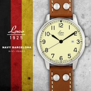 腕時計 メンズ ブランド LACO ラコ 861611 NAVY ネイビー BARCELONAバルセロナ 自動巻き  cwオリジナルストラップ付 ミリタリーウォッチ(宅|chronoworldjapan
