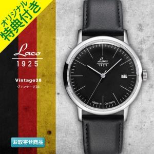 腕時計 メンズ ブランド LACO ラコ 861838 ヴィンテージ38 Vintage38 Black ブラックダイアル バーインデックス 自動巻き ヴィンテージウォッチ VINTAGE WATCH|chronoworldjapan