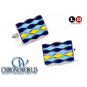 カフスボタン ブランド L2 by LOMA Blue Enamel Layered Waves Cufflinks ブルーエナメルレイヤードウェーブカフス(宅)|chronoworldjapan