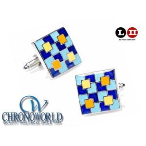 カフスボタン ブランド L2 by LOMA Blue Enamel Quadrant Puzzle Cufflinks ブルーエナメル象限カフス(宅)|chronoworldjapan