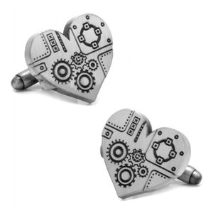 カフスボタン Steampunk Heart Cufflinks スチームパンク ハート シルバー CC-STPNK-SL|chronoworldjapan