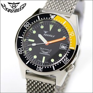 SQUALE スクワーレ PROFESSIONAL プロフェッショナル ブラック×イエロー 1521-026 ダイバーズ 500m防水 メッシュブレス 自動巻き メンズ腕時計 ミリタリー(宅)|chronoworldjapan