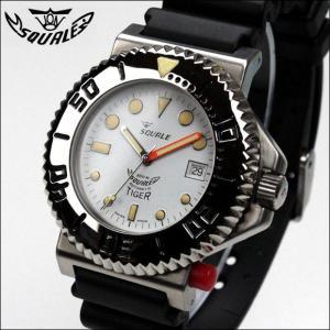 ミリタリー 腕時計 メンズ SQUALE スクワーレ TIGER タイガー 300mダイバーズ デッドストック限定 ホワイト ミリタリーウォッチ(宅)|chronoworldjapan