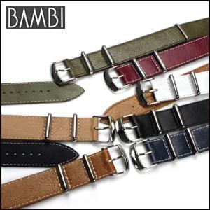 時計ベルト 時計バンド BAMBI バンビ NATOタイプ レザー カーフ 16mm18mm20mm22mm24mm (メ)|chronoworldjapan