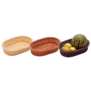 樹脂バスケット 小判30号 91-008 茶|chubonoie
