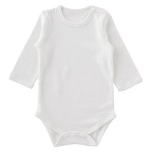 白無地かぶり長袖ロンパース 赤ちゃん 服 ベビー ベビー服 ボディスーツかぶり 長袖 無地 白 チャックルベビー