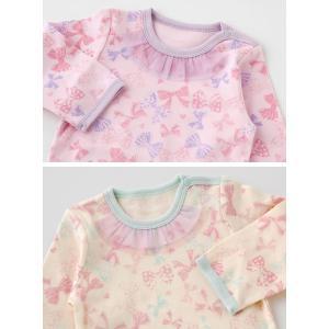 ベビー服 赤ちゃん 服 ベビー ロンパース 女の子 70 80 90 保育園  リボンいっぱい長袖かぶりロンパース|chuckle|04