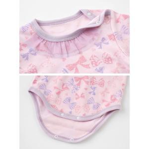 ベビー服 赤ちゃん 服 ベビー ロンパース 女の子 70 80 90 保育園  リボンいっぱい長袖かぶりロンパース|chuckle|05