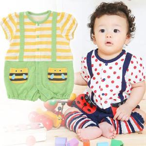 ベビー服 赤ちゃん 服 ベビー カバーオール 男の子 女の子 60 70 80   むしさん半袖カバーオール|chuckle