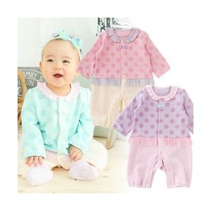 f4632c35a9c27 ベビー服 赤ちゃん 服 ベビー カバーオール 女の子 70 80 パステルドット長袖前開きカバーオール