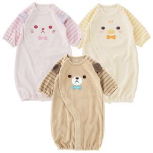 ベビー服 赤ちゃん 服 ベビー ツーウェイオール 女の子  男の子 新生児 お顔アニマルタオル地新生児ツーウェイオールの画像