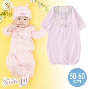 a3f6f44daff40 ベビー服 赤ちゃん 服 ベビー ツーウェイオール 女の子 50 60 長袖 前開き 小花柄 スウィートガール新生児ツーウェイオール