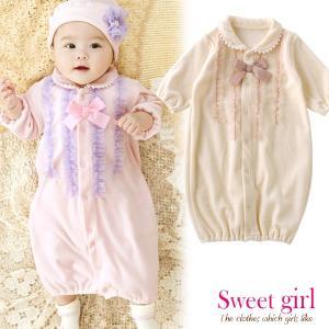 ベビー服 赤ちゃん 服 ベビー ツーウェイオール 女の子 新生児 *スウィートガール*チュールフリルベロア新生児ツーウェイオールの画像