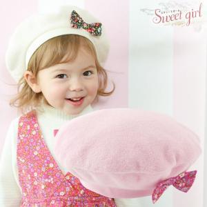 4823c1643fdd1 ベビー服 赤ちゃん 服 ベビー 帽子 女の子  スウィートガール リボン付きベレー帽
