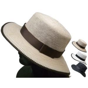 カンカン帽 シンプル つば広 帽子