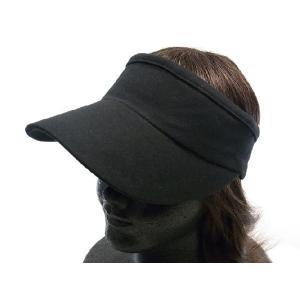 スウェットサンバイザー 黒 シンプルコットン帽子