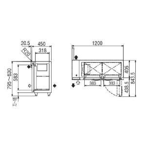 TMU-50RE2 フクシマ (福島工業) 業務用冷蔵庫 ヨコ型 コールドテーブル冷蔵庫 chuuboucenter 02