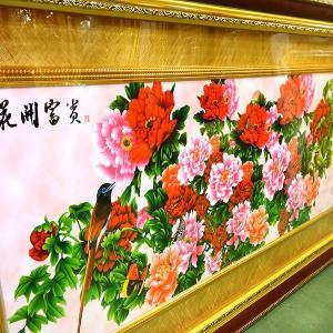 飾り額(ガラス付)花開富貴 160×73cm|chuukanotobira