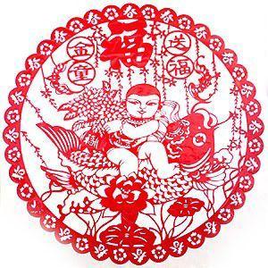 中華切り絵風シール 童子福|chuukanotobira