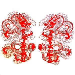 中華切り絵風ドラゴンシート 大|chuukanotobira