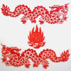 中華切り絵風ドラゴンシート 小|chuukanotobira