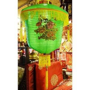 花島カラー提灯 緑 38cm|chuukanotobira