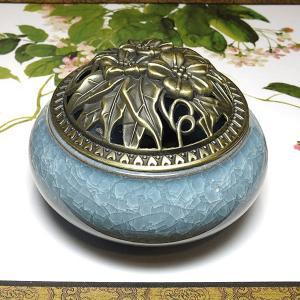 【今ならお楽しみ練り香付き!】香炉 水色(蓋付き コーン型用 渦巻き型用)|chuukanotobira