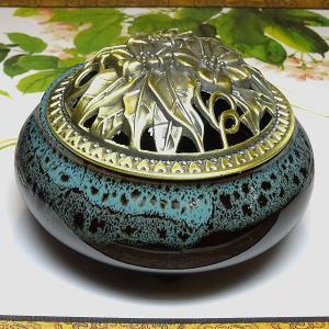 香炉 青×黒(蓋付き コーン型用 渦巻き型用)|chuukanotobira
