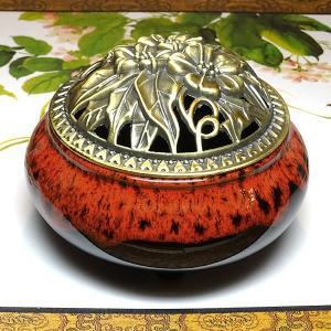 香炉 赤×黒(蓋付き コーン型用 渦巻き型用)|chuukanotobira