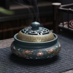 香炉 双竜 蓋付 中国製(お香立て付き) chuukanotobira