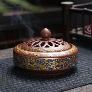 香炉 万花 蓋付 中国製(お香立て付き) chuukanotobira