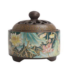 香炉 彩花 蓋付 中国製(お香立て付き) chuukanotobira