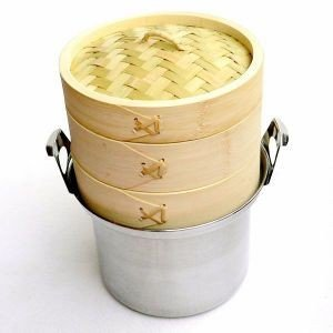15cm竹セイロステンレス鍋セット 2段(身2蓋1鍋1) IH対応|chuukanotobira