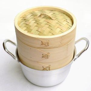 15cm竹セイロアルミ鍋セット 2段 (身2蓋1鍋1)|chuukanotobira
