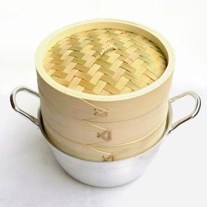 18cm竹セイロアルミ鍋セット 2段 (身2蓋1鍋1)|chuukanotobira