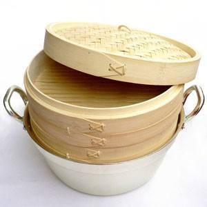 21cm竹セイロアルミ鍋セット 2段 (身2蓋1鍋1)|chuukanotobira