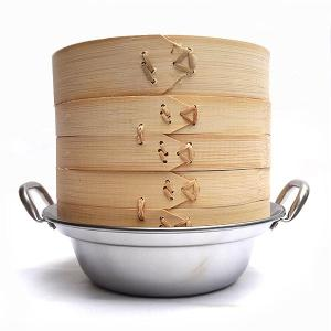 21cm竹セイロステンレス鍋セット 2段(身2蓋1鍋1) IH対応|chuukanotobira