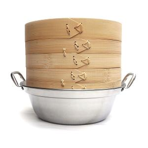 30cm竹セイロステンレス鍋セット 2段(身2蓋1鍋1) IH対応|chuukanotobira