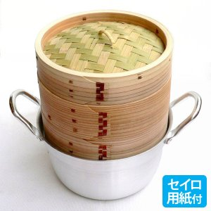 15cm杉セイロアルミ鍋セット 2段 (身2蓋1鍋1セイロ用紙50枚)|chuukanotobira