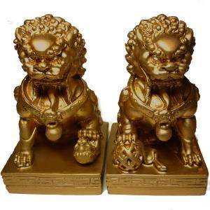 屋外使用可 獅子の置物(高さ17cm)対獅子 FRP製|chuukanotobira