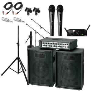 KIKUTANI KPA-100 ポータブルPA AKG WMS40 PRO MINI2 VOCAL SET DUAL ワイアレスマイク2本セット マイクアクセサリ付き 簡易PA 11点セット