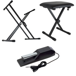 Dicon Audio X型キーボードスタンド ピアノ椅子 KORG ダンパーペダル 電子ピアノアクセサリ 3点セット|chuya-online