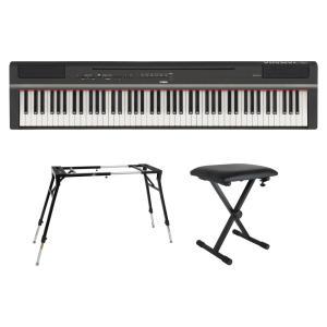 YAMAHA P-125B ブラック 電子ピアノ キーボードスタンド キーボードベンチ 3点セット ...