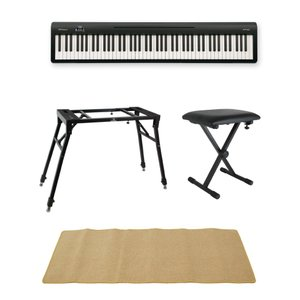 ROLAND FP-10 BK 電子ピアノ ポータブルピアノ 4本脚型スタンド X型椅子 ピアノマッ...