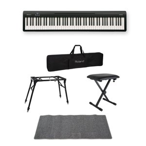 ROLAND FP-10 BK 電子ピアノ ポータブルピアノ 4本脚スタンド/X型椅子/キャリングケ...
