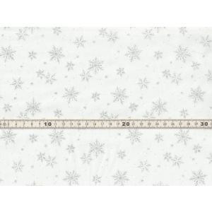 【送料無料】綿100% 生地 クリスマス柄 スノーフレイク 雪の結晶 オフホワイトxシルバーラメプリント シーチング chw