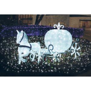 【クリスマス・イルミネーション】 LED電飾 クリスタルグロー 白馬の馬車(小) 防雨仕様|chw